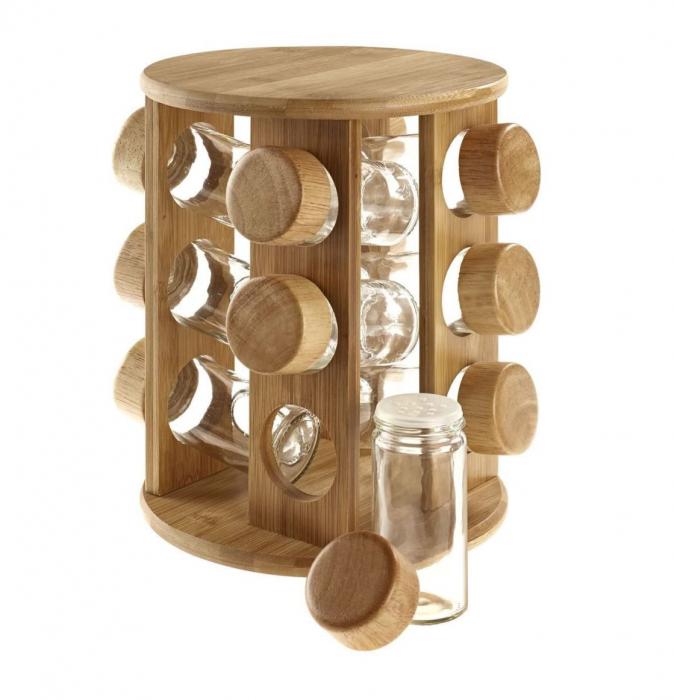 Set Condimente 12 recipiente sticla cu suport rotativ din Lemn 0