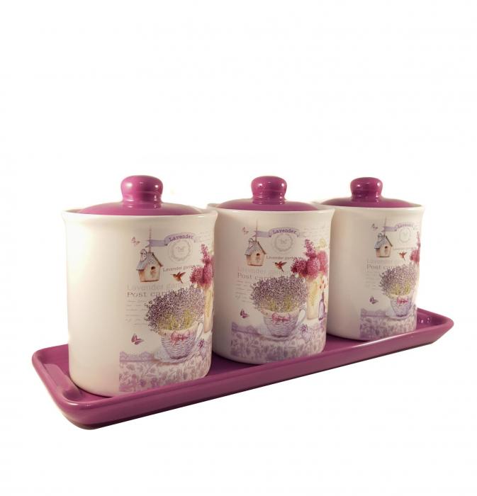 Set 3 Recipiente pentru condimente cu suport Ceramica, Lavander 1
