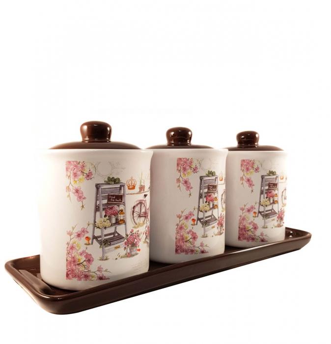 Set 3 Recipiente pentru condimente cu suport Ceramica, Pink 0