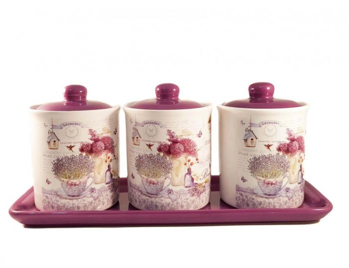 Set 3 Recipiente pentru condimente cu suport Ceramica, Lavander 0