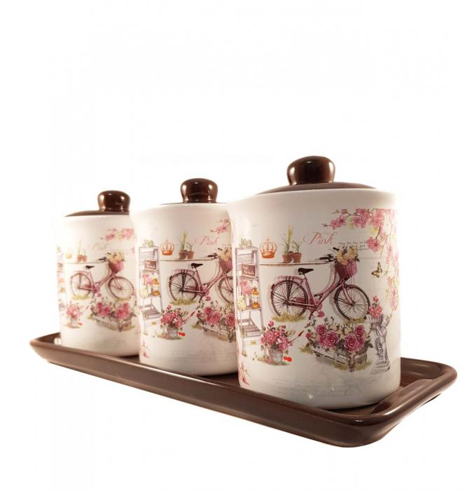 Set 3 Recipiente pentru condimente cu suport Ceramica, Pink 1