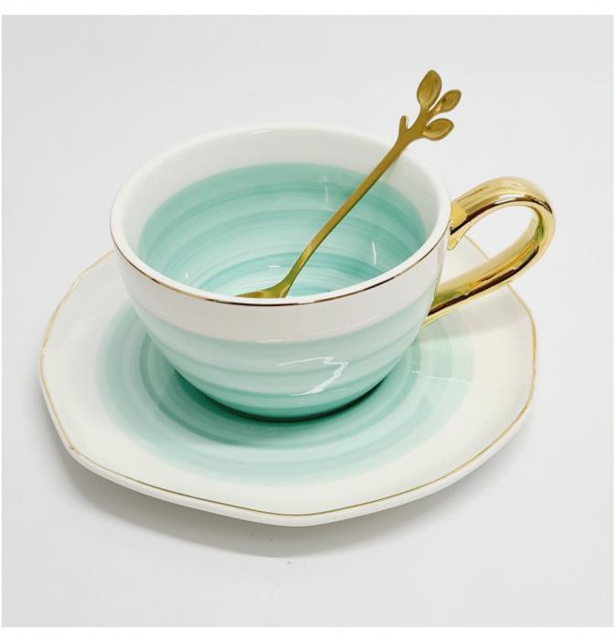Set din Ceramica, Ceasca, Farfurie si Lingurita, LIFE [3]