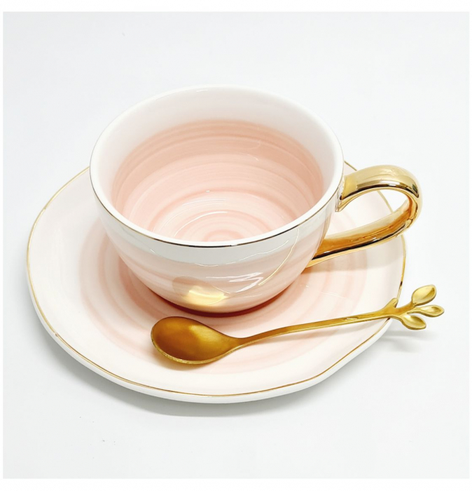 Set din Ceramica, Ceasca, Farfurie si Lingurita, LIFE [1]