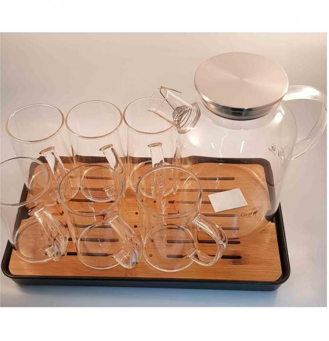 Set Ceainic - Carafa 1.8L si 6 Cani din Sticla Borosilicata, cu Tava din Bambus 6