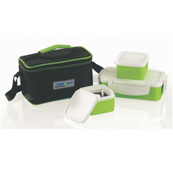 Set Lunch Box Pyramid Thermo, 4 piese, Verde 0