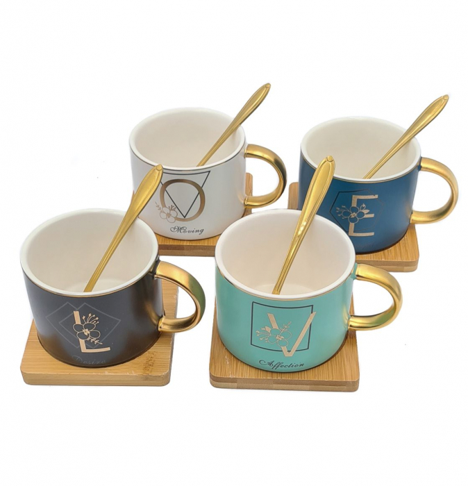 Set 4 Cesti pentru Cafea si Ceai, LOVE, suport bambus si lingurite 0