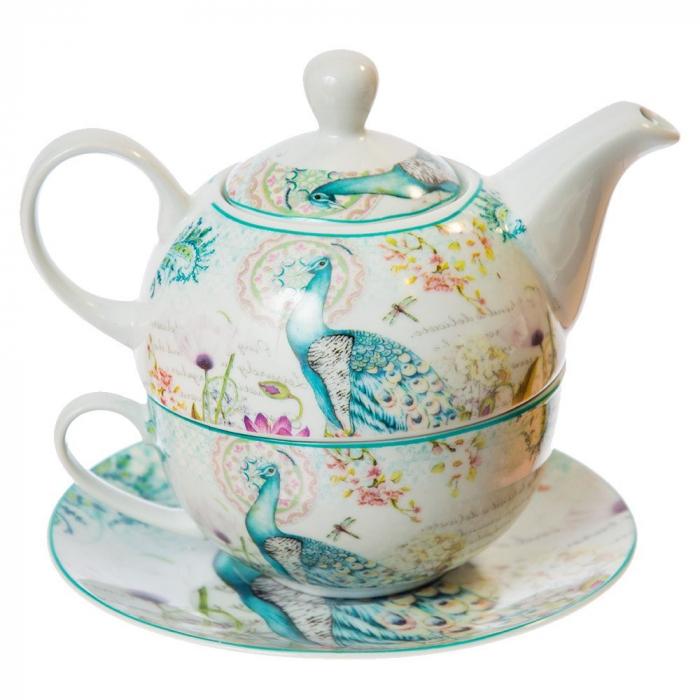 Set Ceai pentru 1 persoana, 3 piese, Turcoaz 0