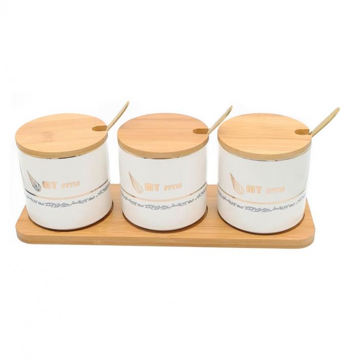 Set pentru Condimente 3 recipiente  ceramice cu lingurite si tava din Bambus, My Style 0