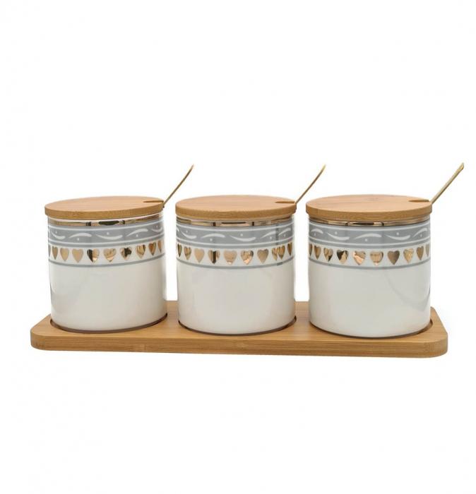 Set pentru Condimente 3 recipiente  ceramice cu lingurite si tava din Bambus 1