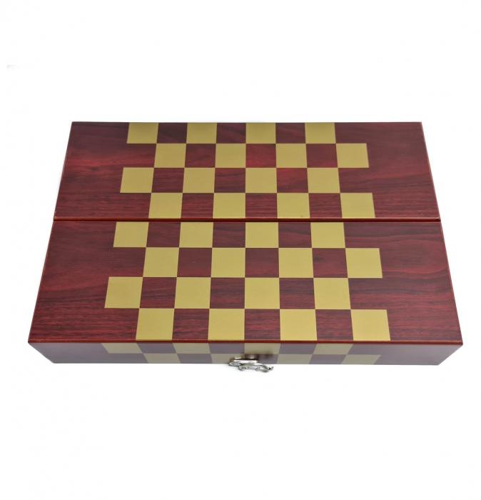 Set din Lemn cutie pentru Vin si set pentru Sah, 36x12x12 CM 2