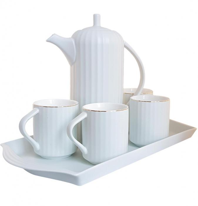 Serviciu din Portelan pentru Ceai si Cafea, Tava, Carafa si 4 Cani, Bleu 0