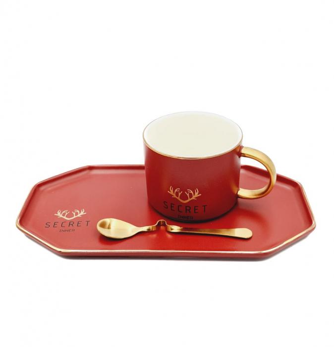 Set Cafea din Portelan, Ceasca, Platou si Lingurita, SECRET [2]