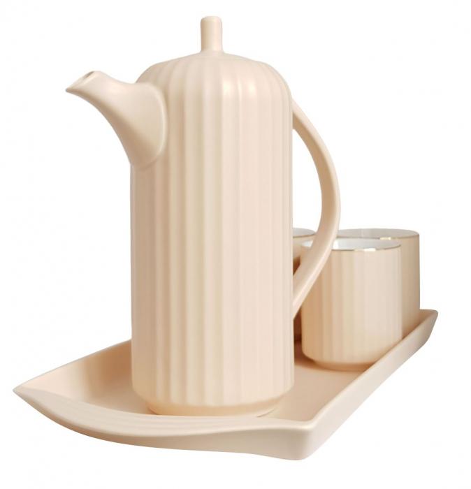 Serviciu din Portelan pentru Ceai si Cafea, Tava, Carafa si 4 Cani, Bej 0