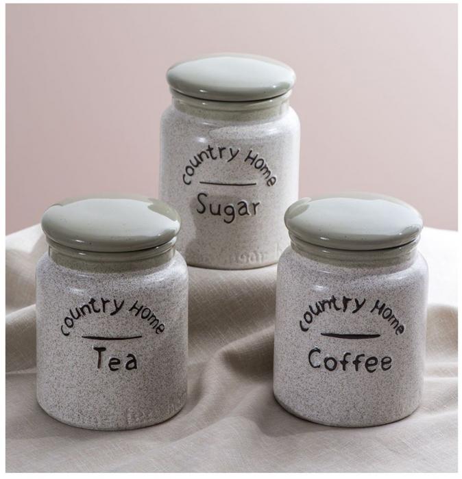 Set 3 Borcane din Ceramica pentru Condimente, Country Home [0]