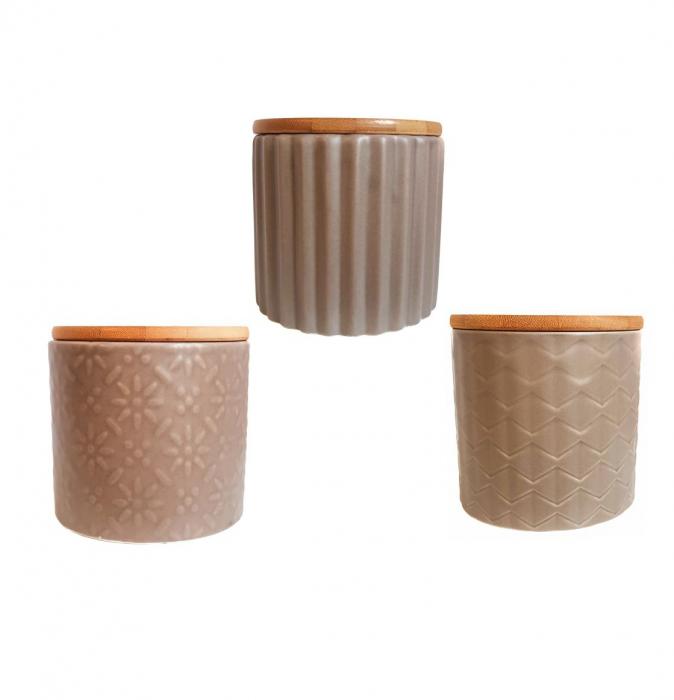 Set 3 recipiente din ceramică cu capac din bambus CREM 0