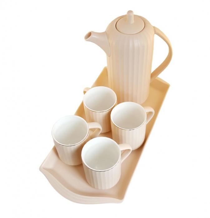Serviciu din Portelan pentru Ceai si Cafea, Tava, Carafa si 4 Cani, Bej 2