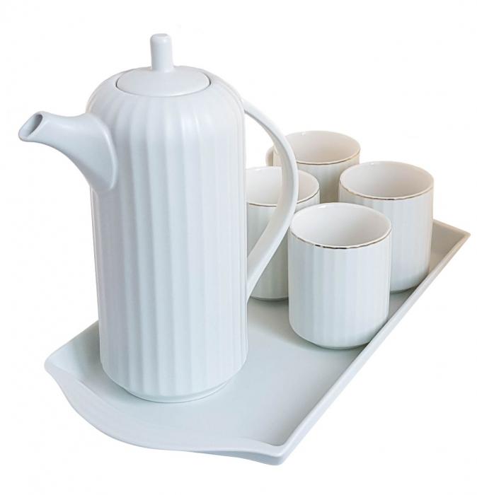 Serviciu din Portelan pentru Ceai si Cafea, Tava, Carafa si 4 Cani, Bleu 1