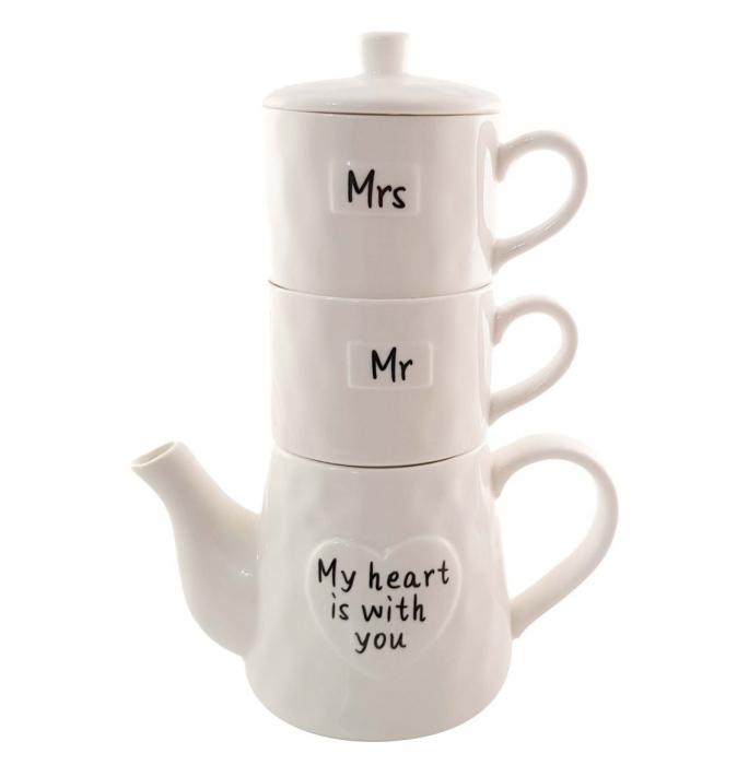 Set Tea For Two, Ceainic 460 ML cu infuzor si 2 Cani SHE&HE, Portelan 0