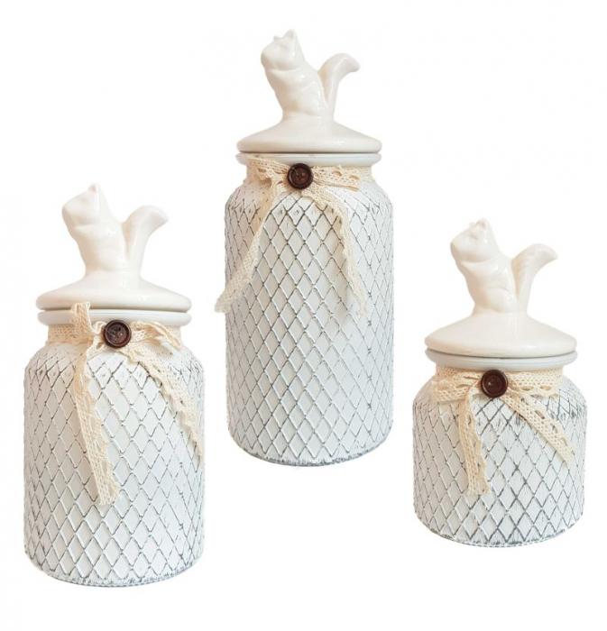 Set 3 recipiente depozitare Vintage, sticla si capac ceramica 0