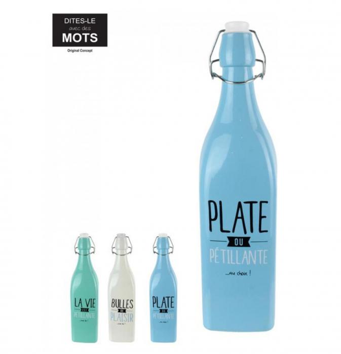 Sticla din sticla cu dop inchidere ermetica, Alb, 1 litru 1
