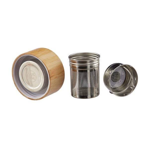 Sticla cu infuzor, din sticla cu perete dublu si capac din Bambus 2