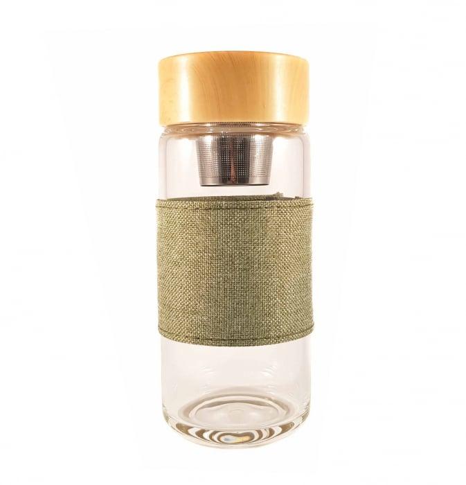 Sticla cu infuzor pentru ceai si protectie, Verde, 400 ml 2