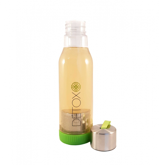 Sticla Detox 500 ml, cu infuzor metalic pentru ceai, Verde 1