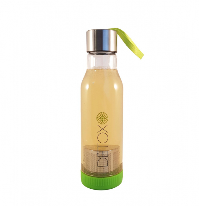 Sticla Detox 500 ml, cu infuzor metalic pentru ceai, Verde