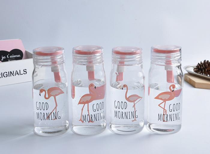 Sticla Flamingo 200 ml, din sticla cu capac ermetic 2