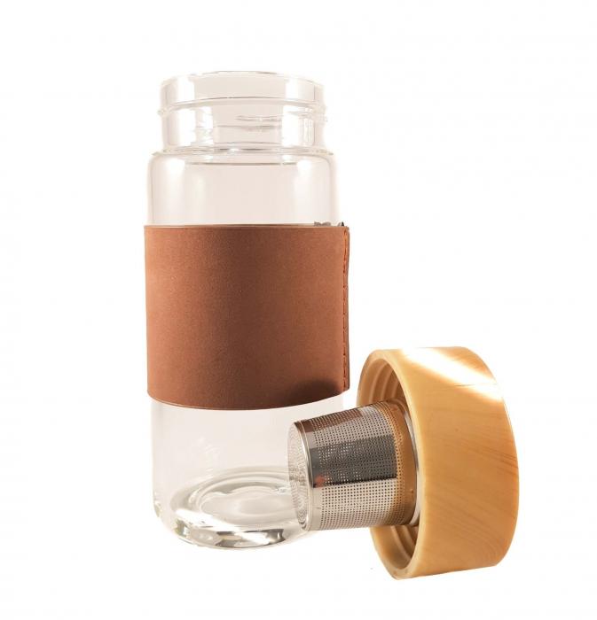Sticla cu protectie si infuzor metalic pentru ceai, Maron 1