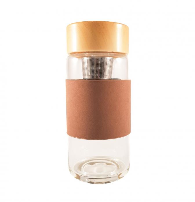 Sticla cu protectie si infuzor metalic pentru ceai, Maron 0