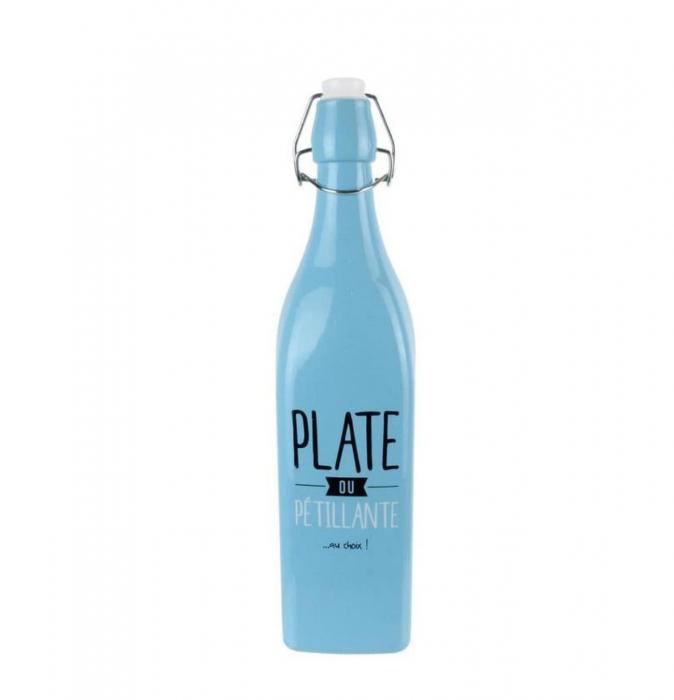 Sticla din sticla cu dop inchidere ermetica, Albastru, 1 litru