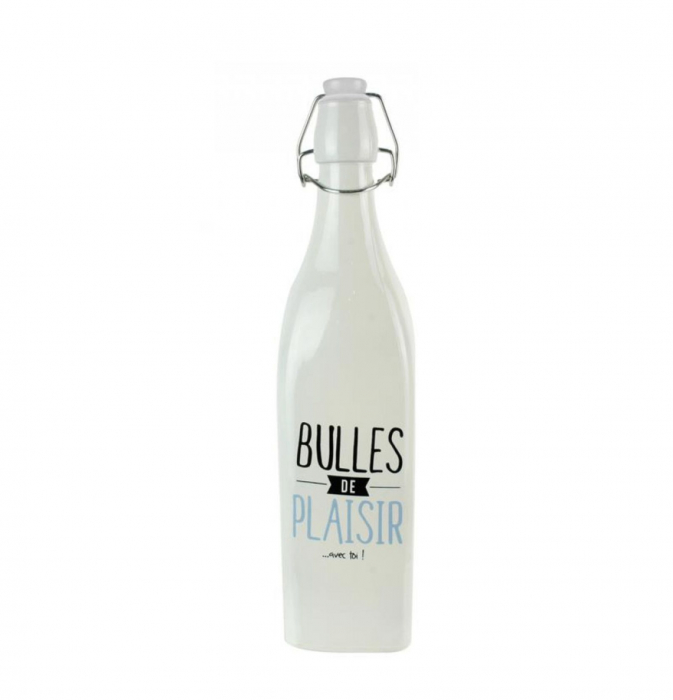 Sticla din sticla cu dop inchidere ermetica, Alb, 1 litru 0