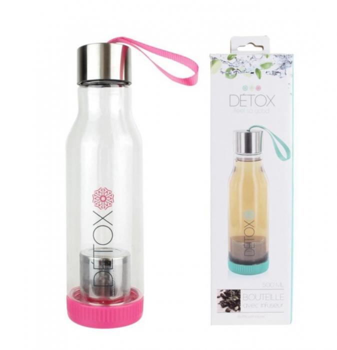 Sticla Detox 500 ml, cu infuzor metalic pentru ceai, Roz, 500 ml