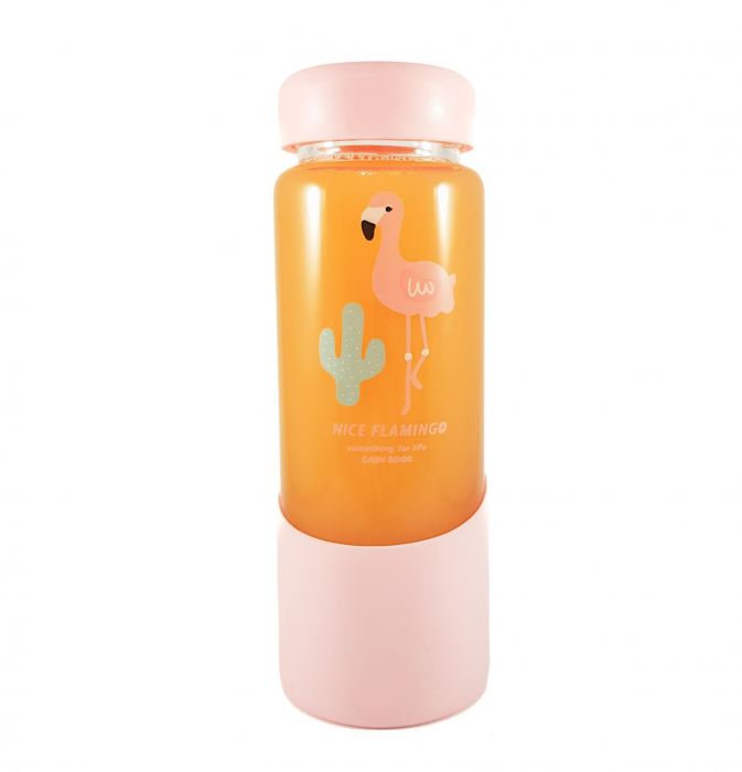 Sticla Flamingo din sticla si capac ermetic, 450 ml 0