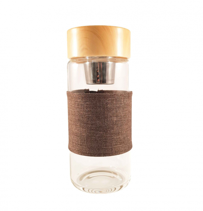 Sticla cu protectie si infuzor metalic pentru ceai, Gri, 400 ml