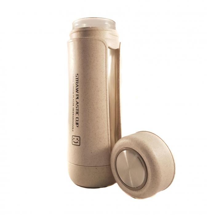 Sticla Termos, protectie Biodegradabila, Bej, 330 ml 0
