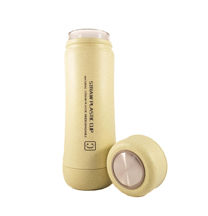 Sticla Termos,protectie Biodegradabila,Verde 2