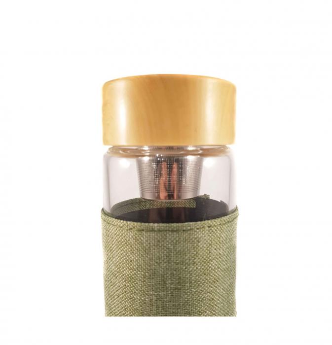 Sticla cu infuzor pentru ceai si protectie, Verde, 400 ml 1