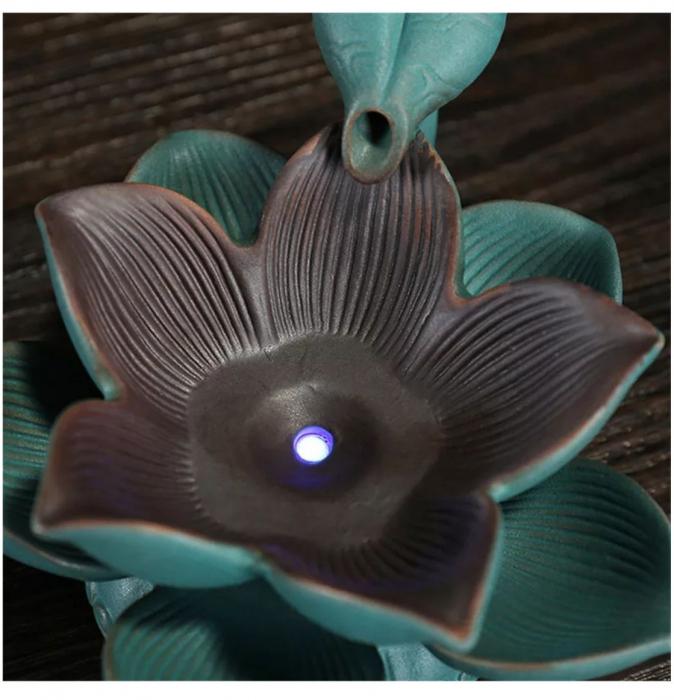 Suport ardere conuri parfumate BACKFLOW, lumina LED LOTUS [2]