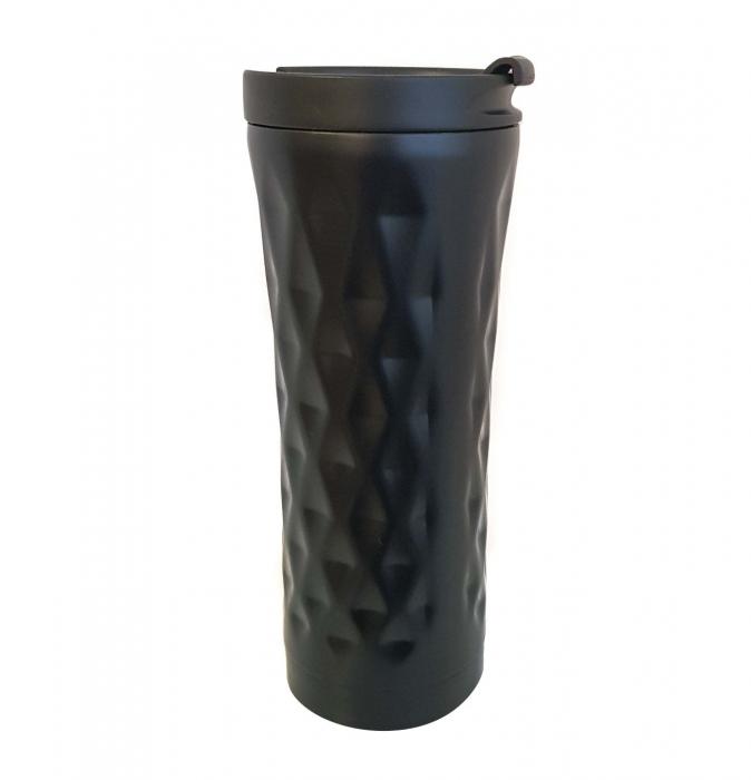Cana termos din Inox cu perete dublu, Negru, 460 ml 0