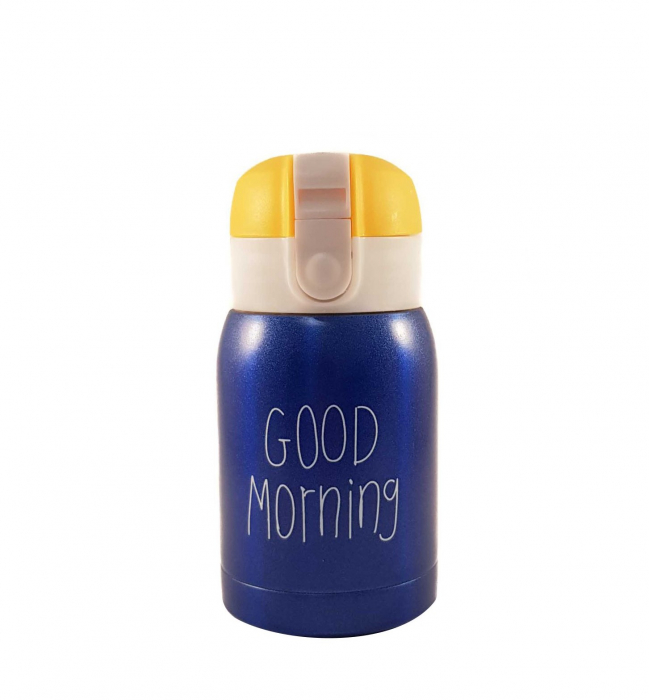 Mini Termos Good Morning, Albastru, 180 ml 0