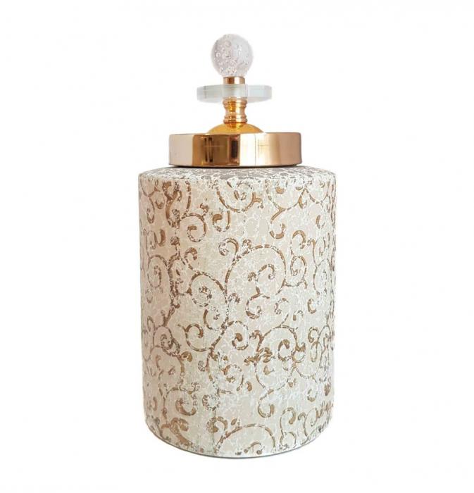 Vas decorativ cu capac ORIENTAL, Ceramica, 26 CM 0