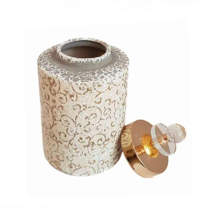 Vas decorativ cu capac ORIENTAL, Ceramica, 26 CM