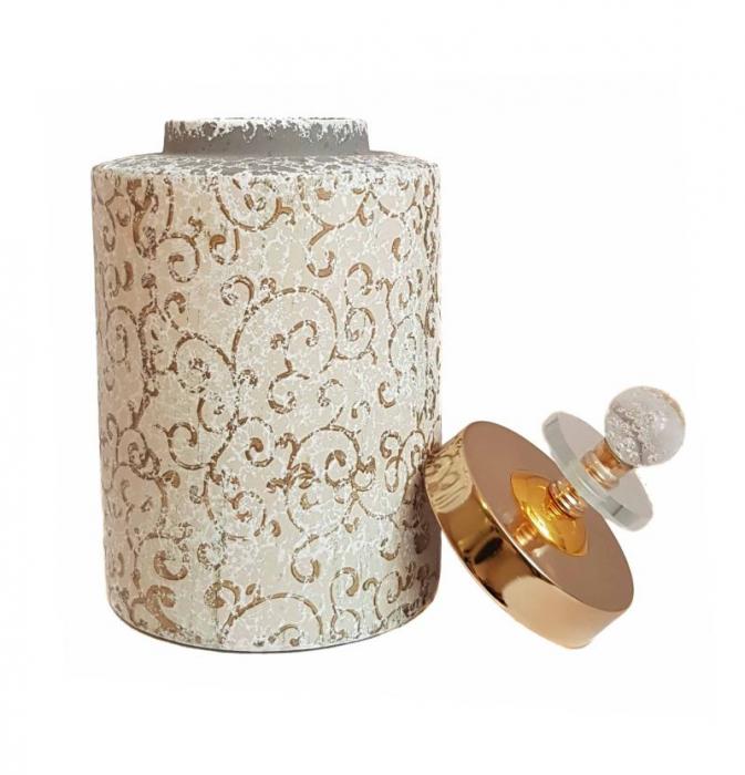 Vas decorativ cu capac ORIENTAL, Ceramica, 26 CM 1