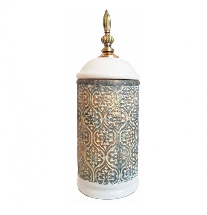 Vas decorativ DAMASC, Ceramica cu capac, 26 cm 0