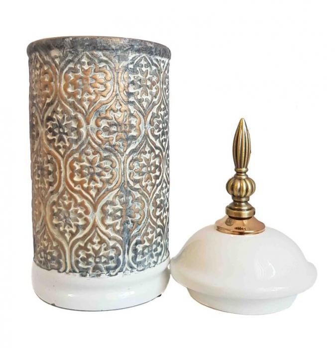 Vas decorativ DAMASC, Ceramica cu capac, 26 cm