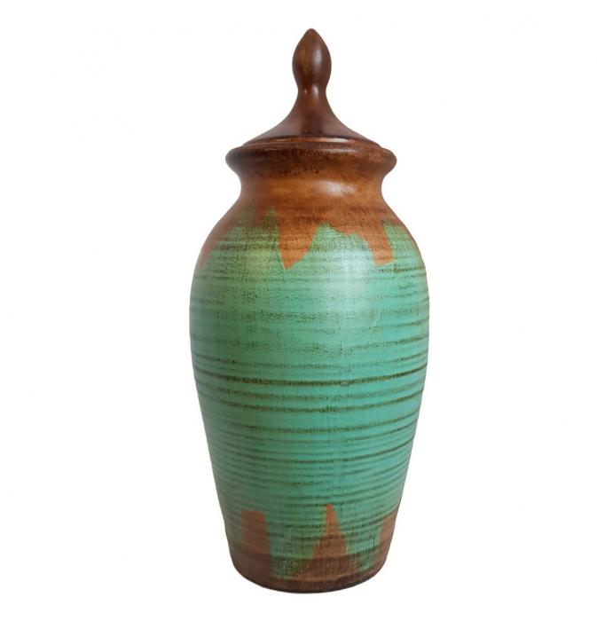 Vaza Ceramica cu capac, TURCOAZ, 37 CM 0