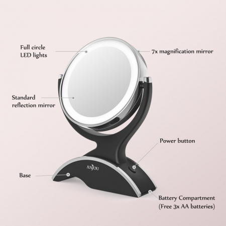 Oglinda cosmetica Anjou, iluminare LED, 2 fete, marire 7X1