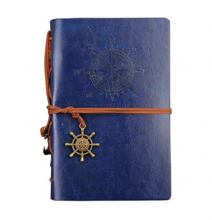 Agenda cu coperta din piele, BUSOLA, 23X16 CM, Albastru0
